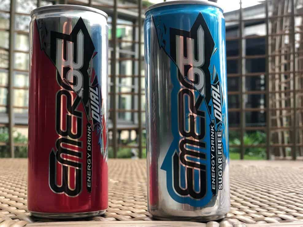 Two cans of Emerge Dual energy drink