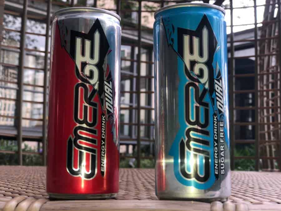 Cans of Emerge Dual energy drink.