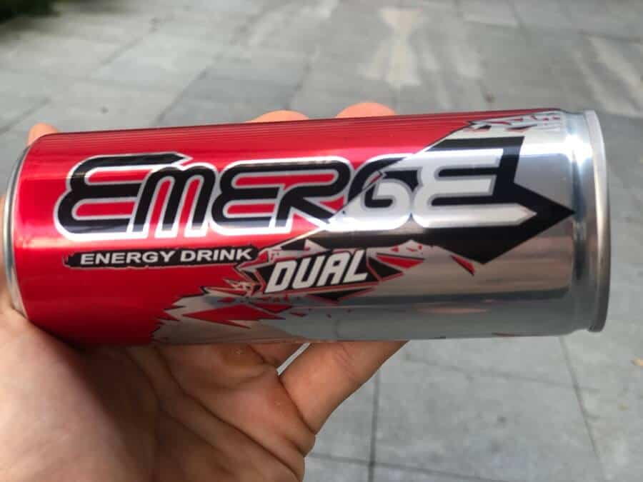 A can of Emerge Dual energy drink
