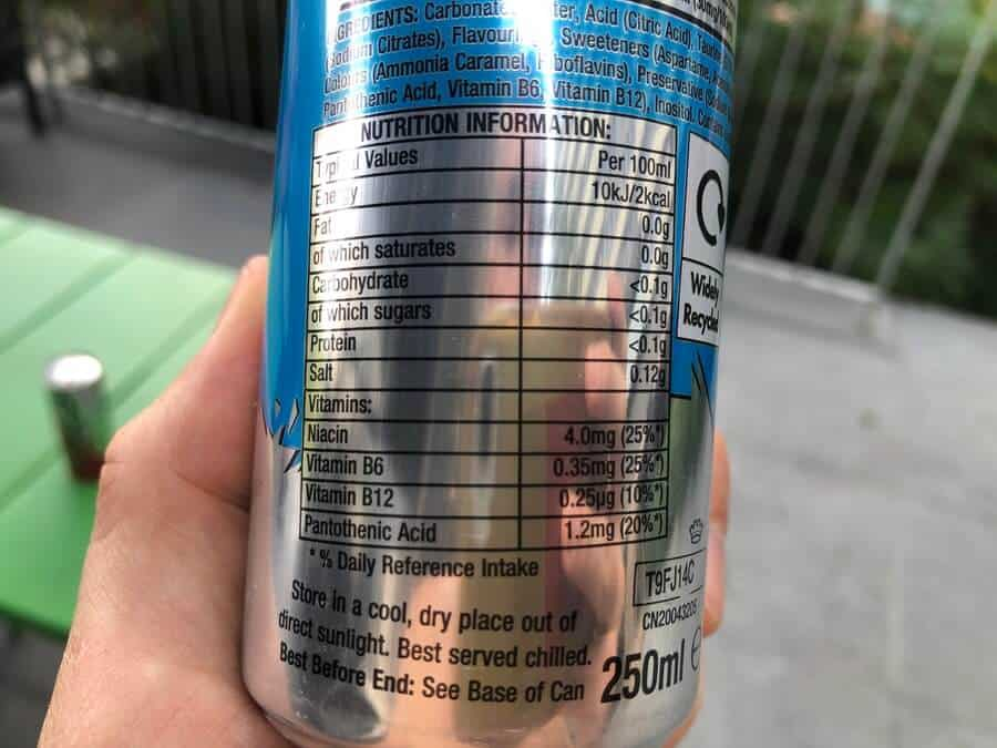 Nutrition information as seen on an Emerge energy drink can.