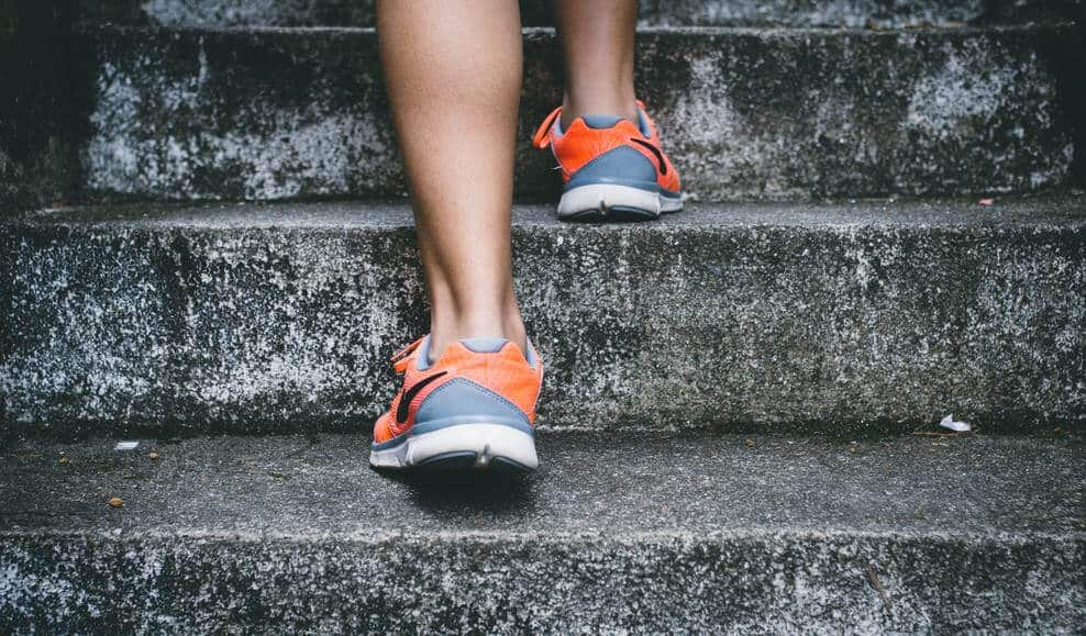 Running up and down steps is good exercise