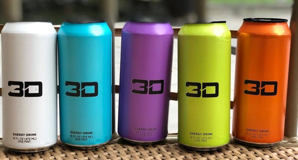 3D Energy Drink cans in a row