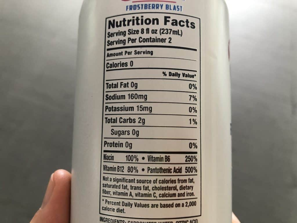Nutrition information as shown on a  can of Xyience energy drink.