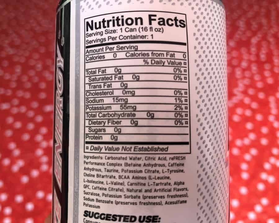 Nutrition facts label on Raze energy drink