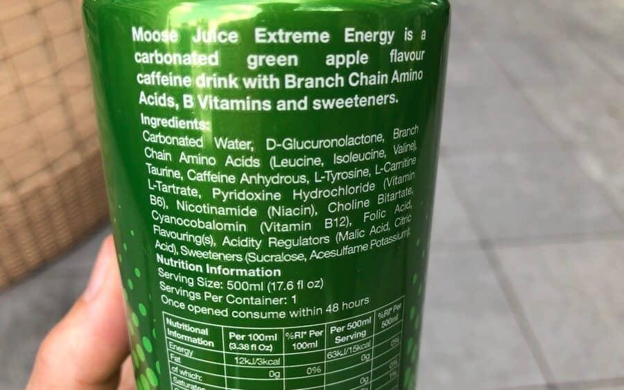 Back label of Moose Juice energy drink
