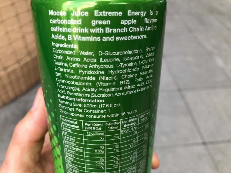 ingredients and nutritional information on the back of Moose Juice can
