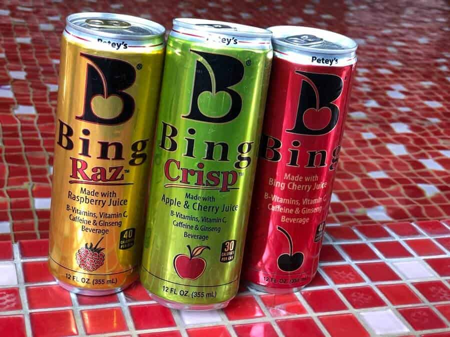 3 cans of Bing energy drink