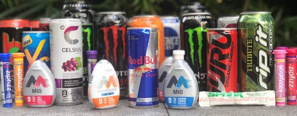 An assortment of different energy drinks