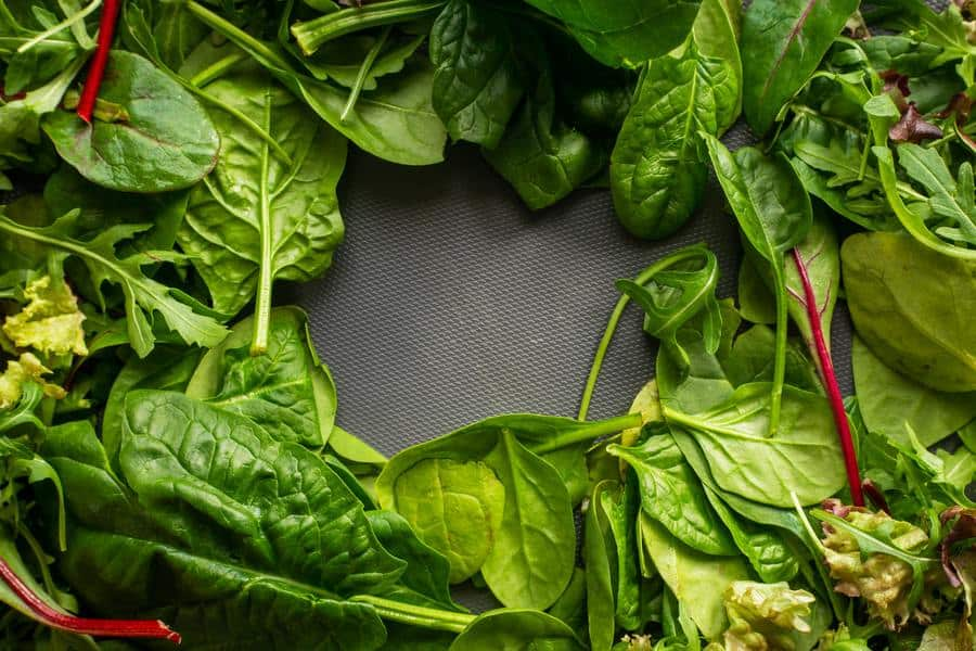 Green vegetables on a grey surface