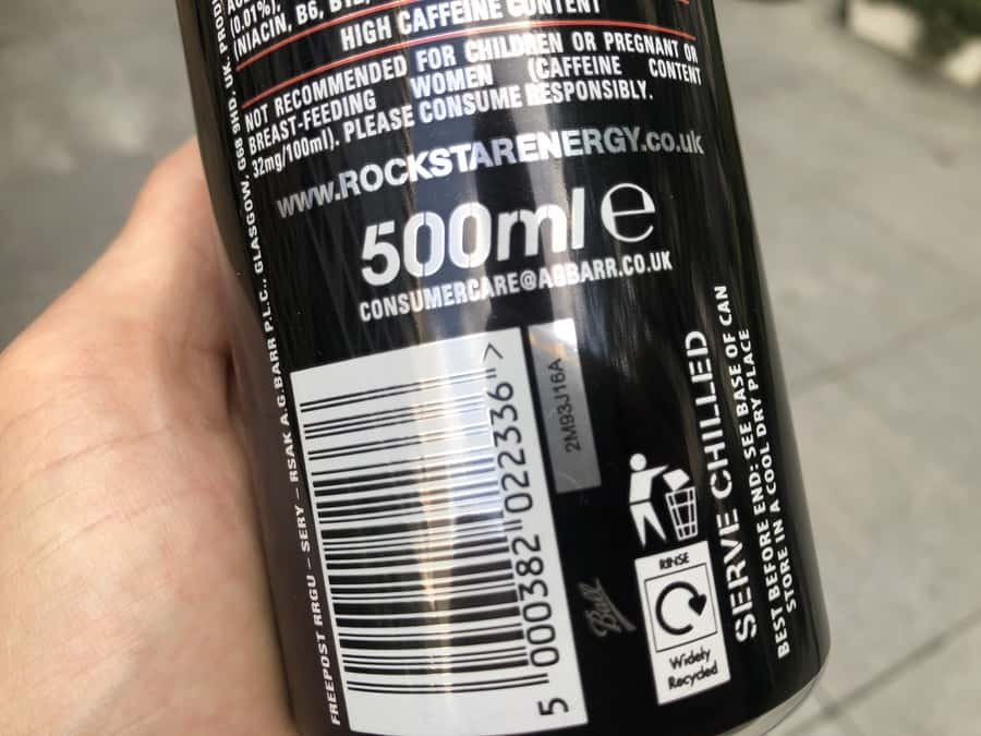 Rockstar energy drink high caffeine warning label
