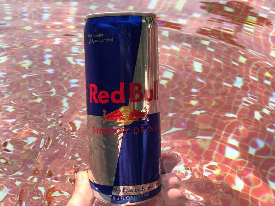 A regular 8.4 fl.oz can of Red Bull