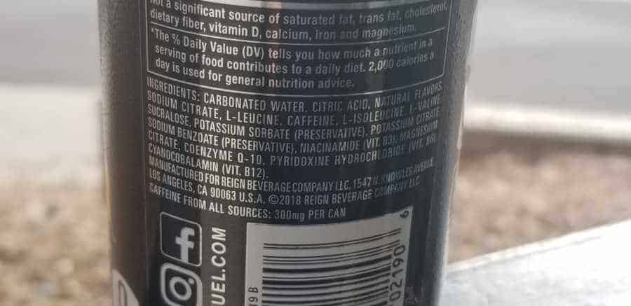Reign Energy ingredients list on the back of a can.