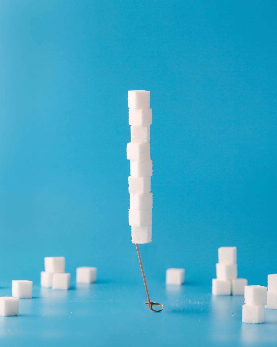sugar cubes stacked on one another