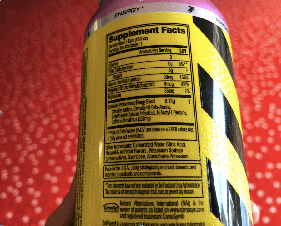 ingredient list on the back of C4 original can