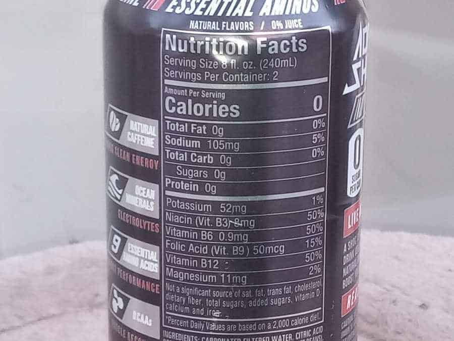Nutrition facts and calorie information on the back of Adrenalin Shoc energy drink can.
