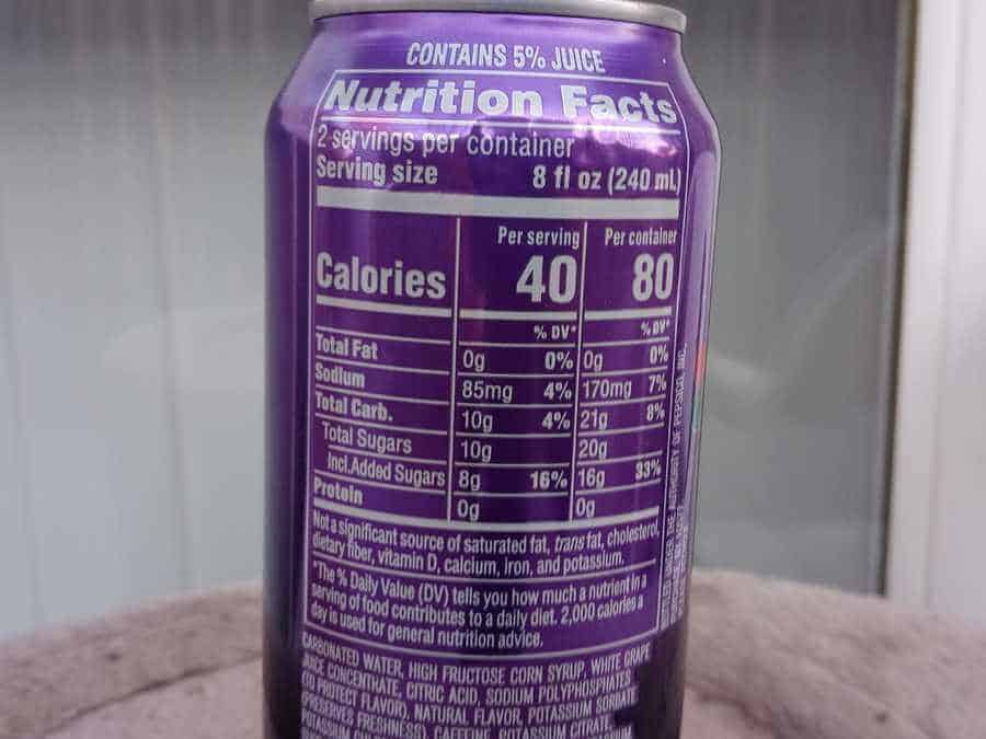 Nutritional Facts of Mountain iDew Kickstart Energy Drink Can.