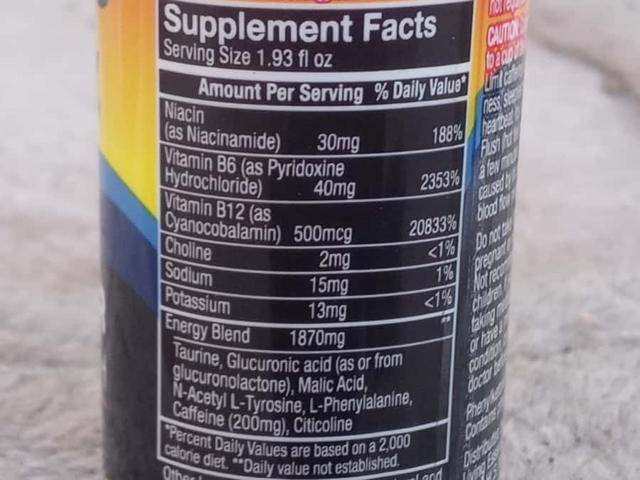 The supplement facts of 5 Hour Energy Shot.
