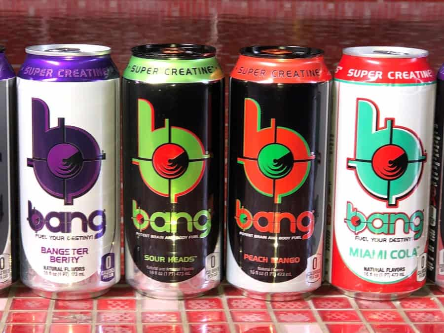 A series of Bang cans lined up