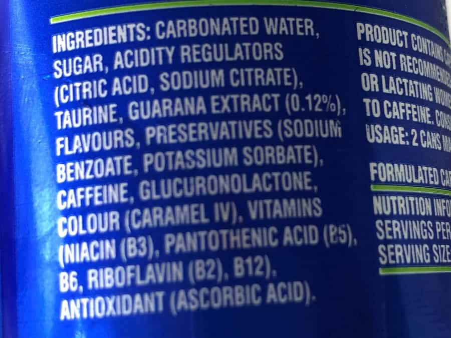 The back of a can of Blue V Energy Drink.