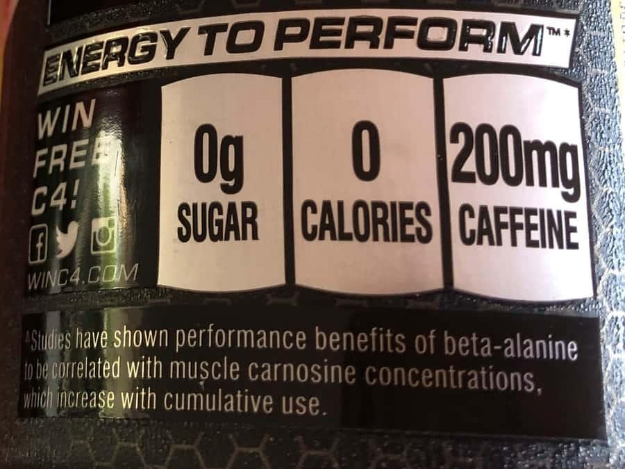 C4 Energy Drink caffeine label.