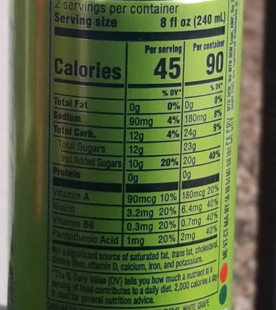 Nutritional Facts of a Game Fuel Energy Drink Can.