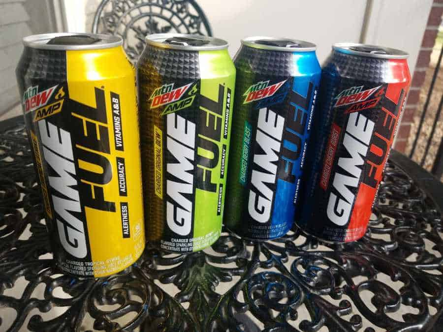 four cans of Mountain Dew Amp Game Fuel