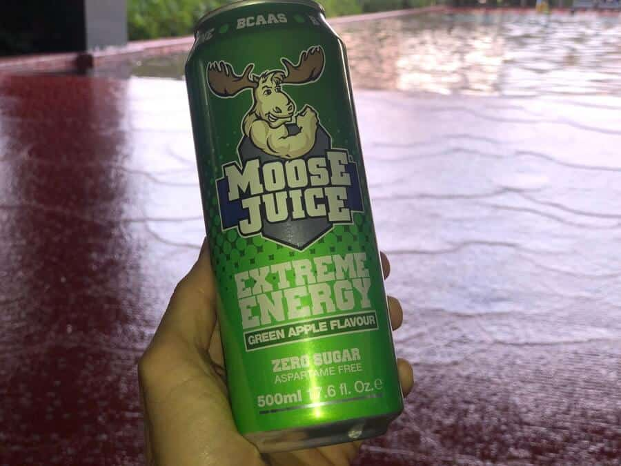 A can of Moose Juice green apple flavour