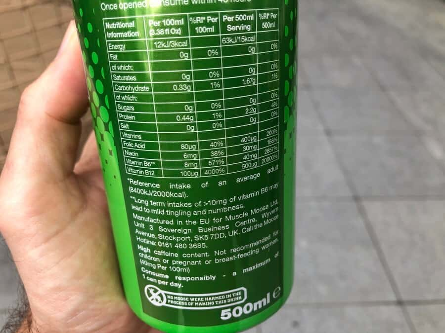 Nutritional information and warning label on the back of a can of Moose Juice