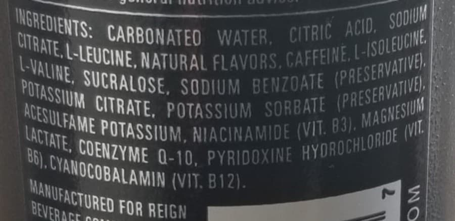 Ingredients list of Reign can.