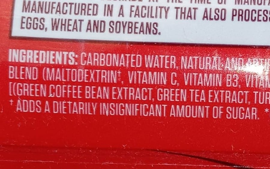 Portion of G Fuel Can Ingredients