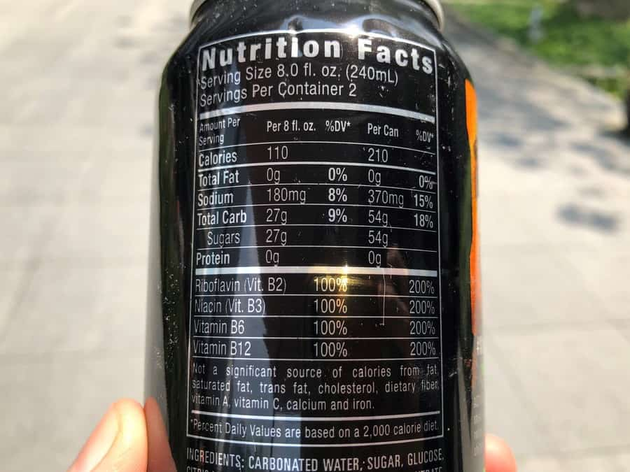 Back of a Monster can.