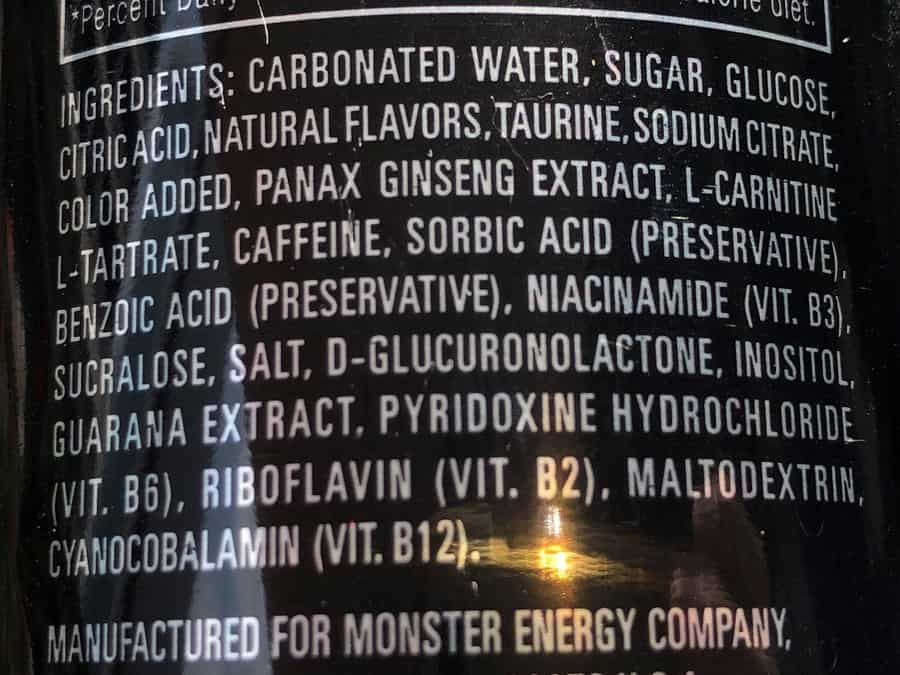 Monster Energy Original Ingredients
