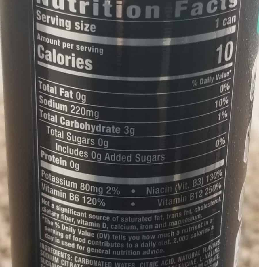 Nutrition list of Reign can.