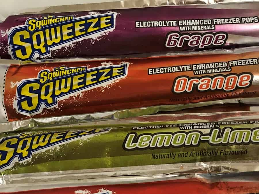 Close up of some Sqwincher Sqweeze Flavors