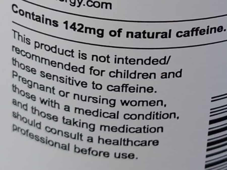Uptime Sugar-Free Caffeine Content  and Caffeine Warning Label