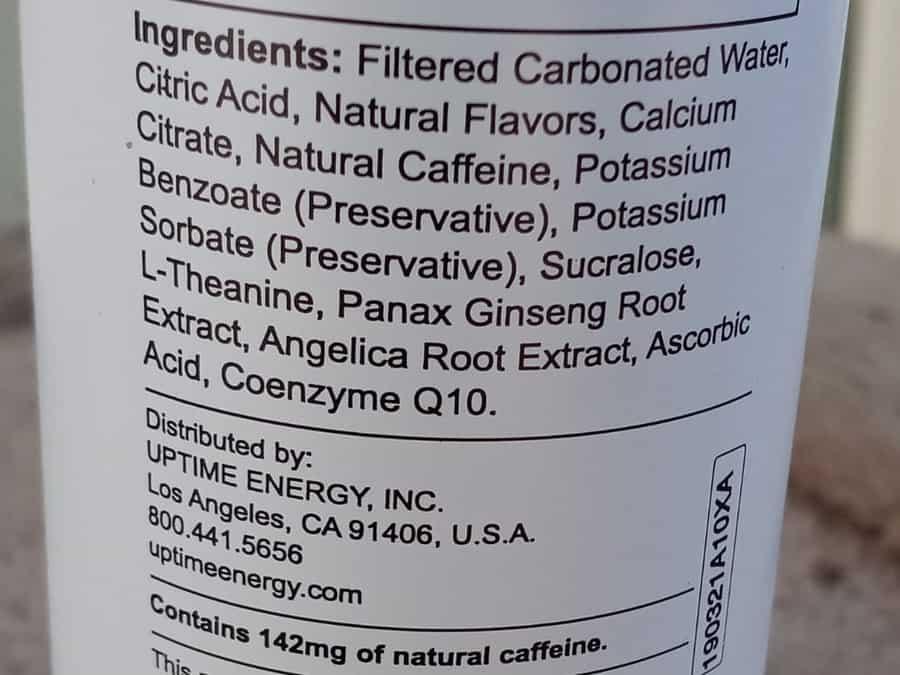 Uptime Energy Drink Sugar-Free Ingredients (Blood Orange)