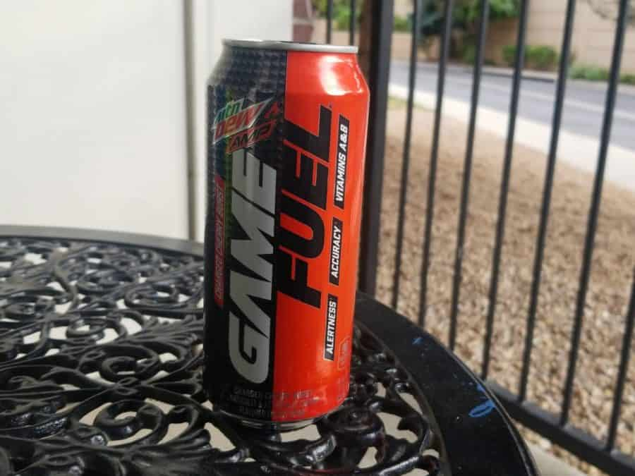 Game Fuel energy drink on a table