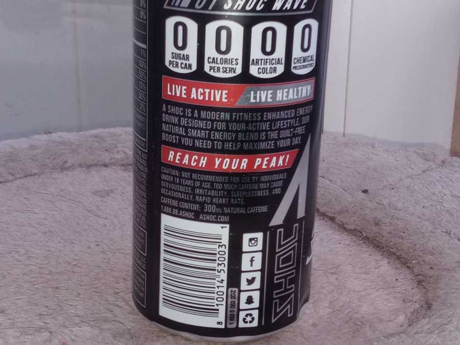 More information about Adrenalin Shoc on the back of the can.