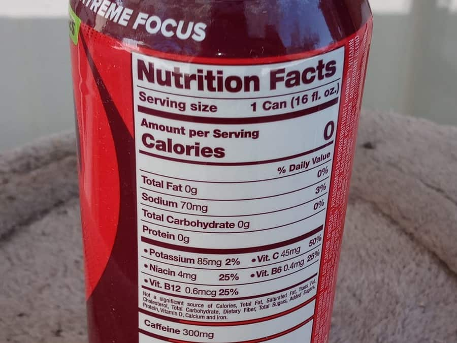 G Fuel Can nutrition facts.