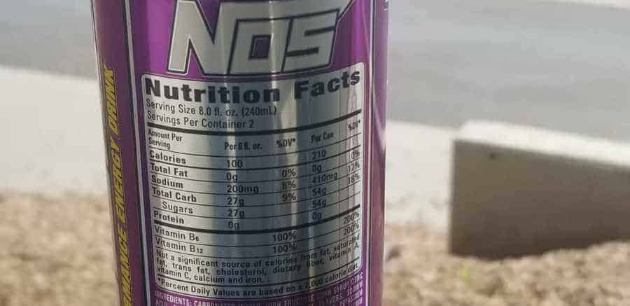 The back of NOS energy drink with the nutrition facts.