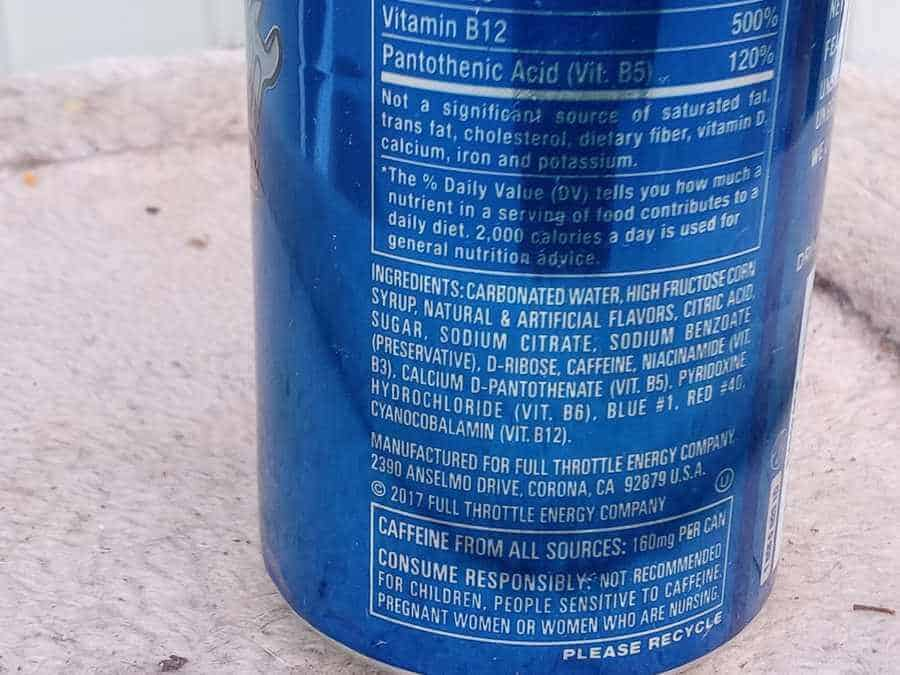 Ingredients list on the back of the can of Full Throttle