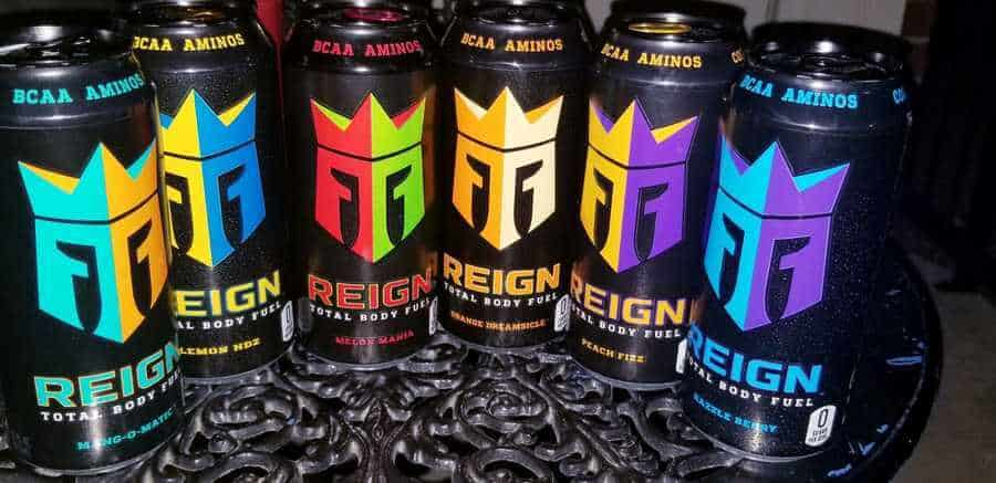 Range of Reign energy drink with different flavors.