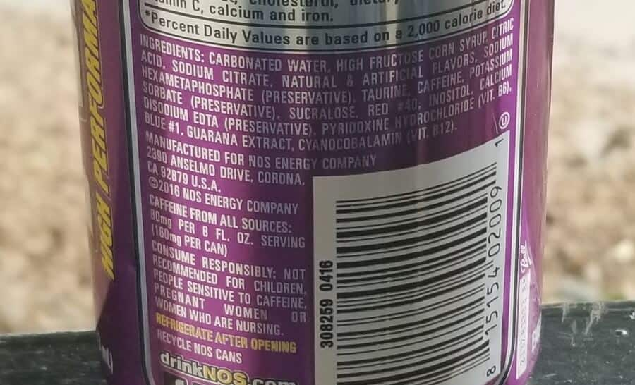 List of ingredients on the label of NOS GT Grape