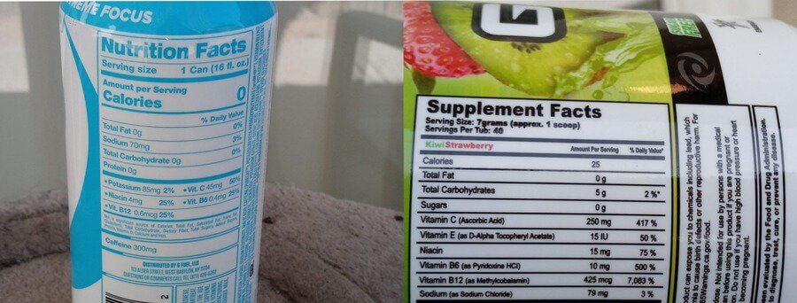Side by side comparison of nutrition facts of g fuel can and g fuel powder