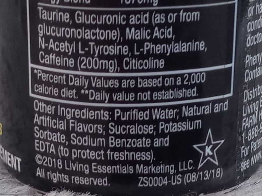 A closeup on the ingredients in 5 Hour Energy.