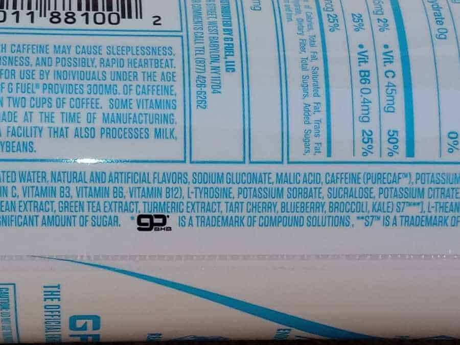 Ingredients in G Fuel Can listed on the back of the can.