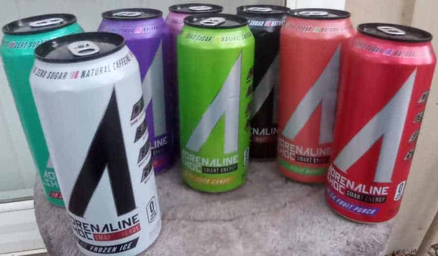 A variety of different flavors of Adrenalin Shoc energy drink together