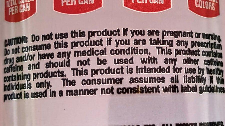 Bang Energy Warning Label