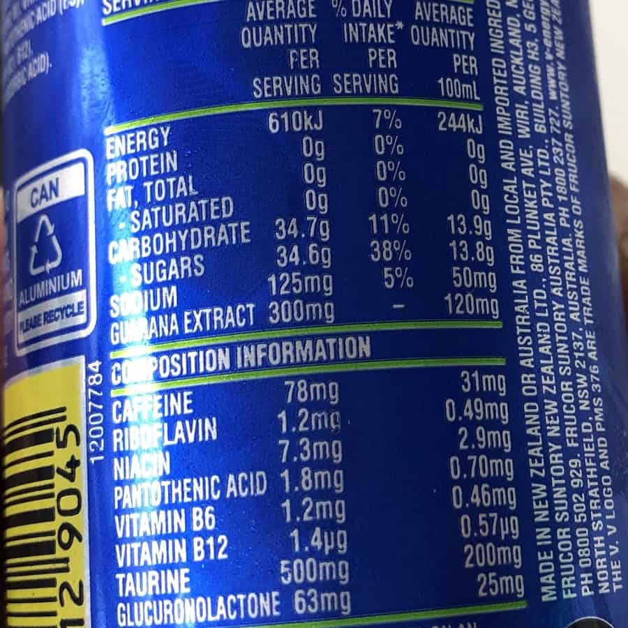 Blue V Nutritional Facts