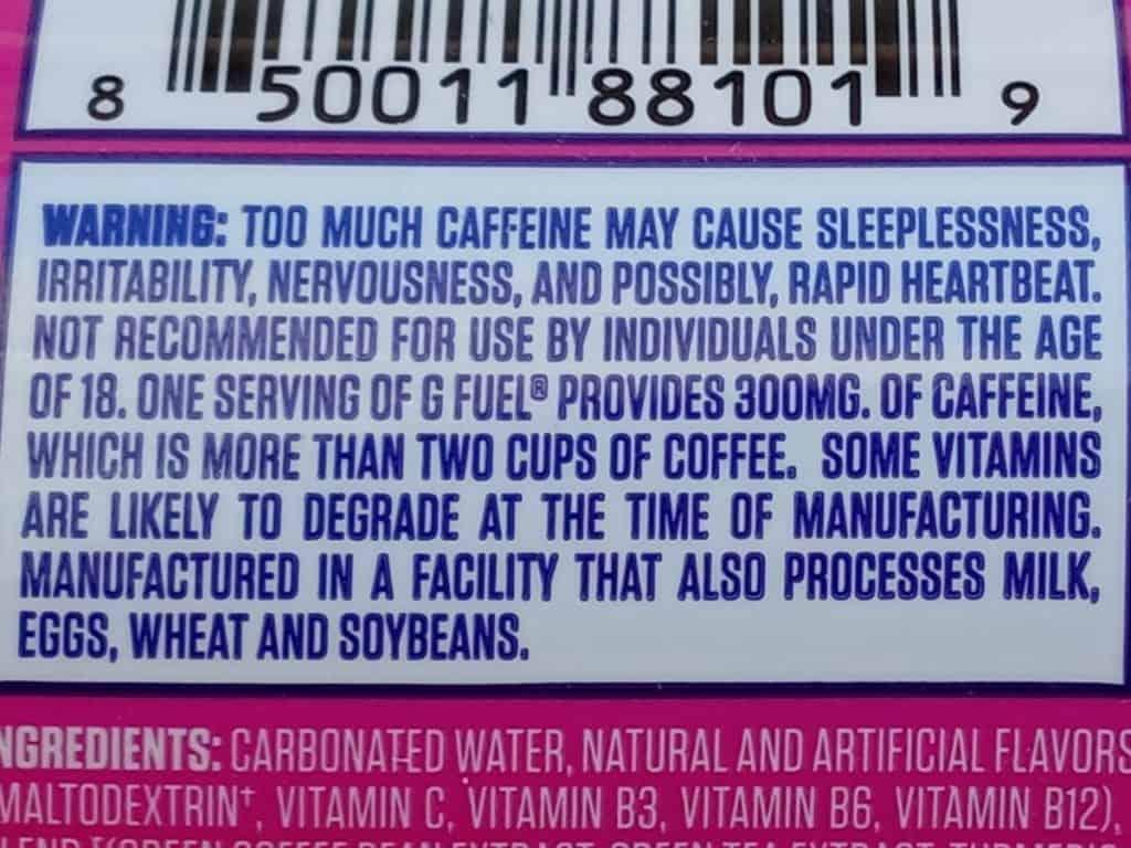 G Fuel Fazeberry Warning Label